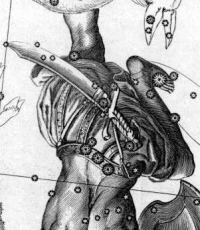 A detail of a drawing of the constellation of Orion. Drawn by Johannes Hevelius in a star atlas published in 1690