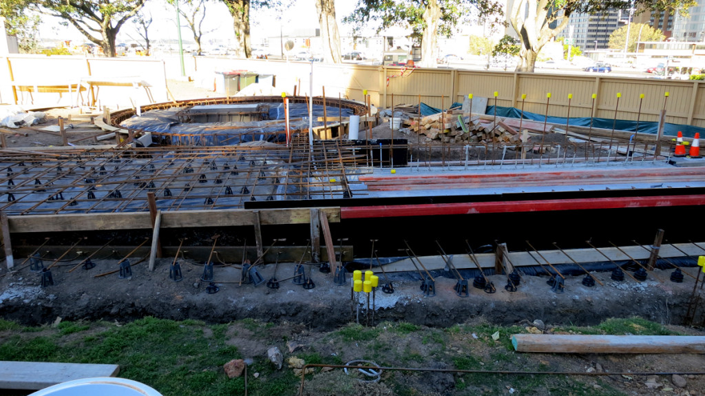 Steelwork is in place for the concrete slab to be poured