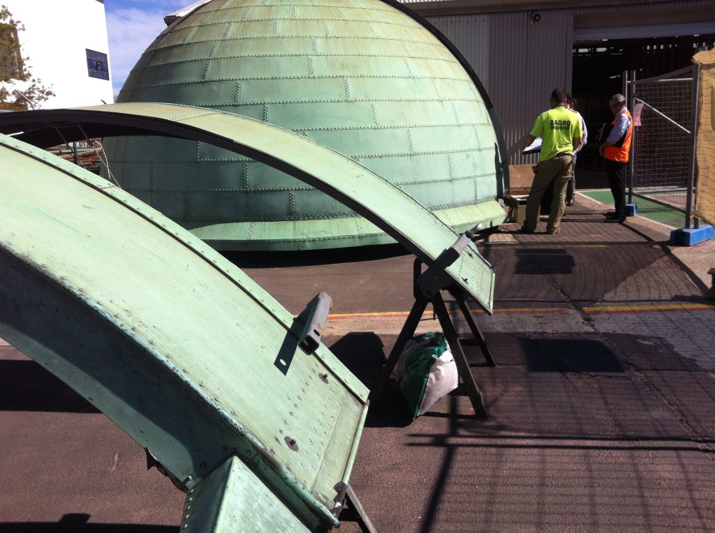 Measuring the dome which is currently being restored