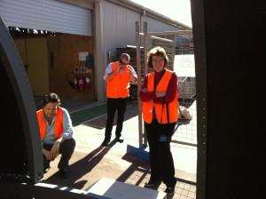 Susan McMunn, MAAS Facilities team, and Carmine Strangis, Zadro Constructions, measure the dome