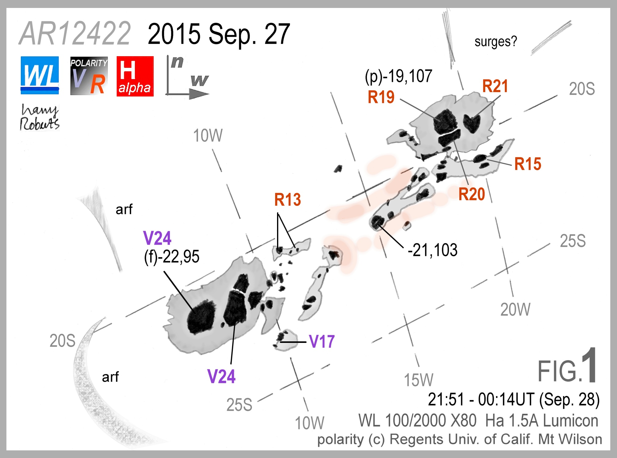 Fig 1: AR12422 on 2015 Sep 27. Sketch and copyright Harry Roberts