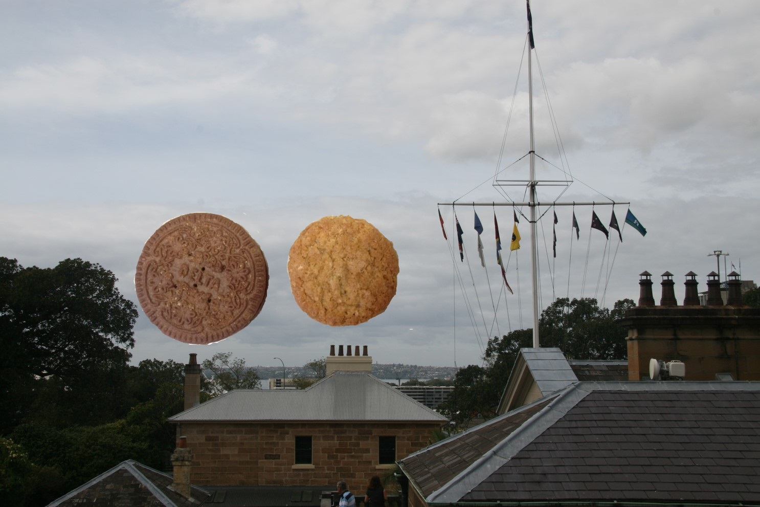 A biscuit and a superbiscuit seen from Sydney Observatory