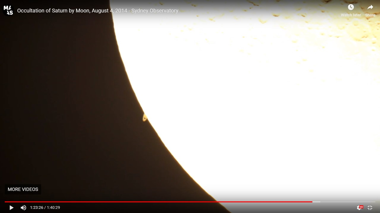 Saturn reappears from behind Moon during occultation of 2014 August 04