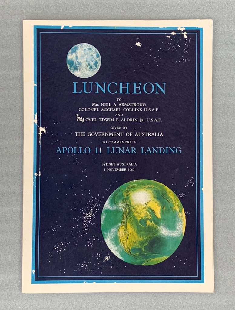 Luncheon menu for the astronauts, Front page, November 1, 1969 - Wentworth Hotel, Sydney.
