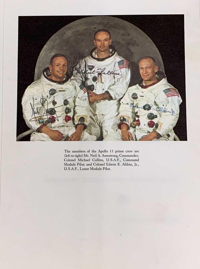 Neil Armstrong, Michael Collins and Buzz Aldrin before their flight to the Moon.