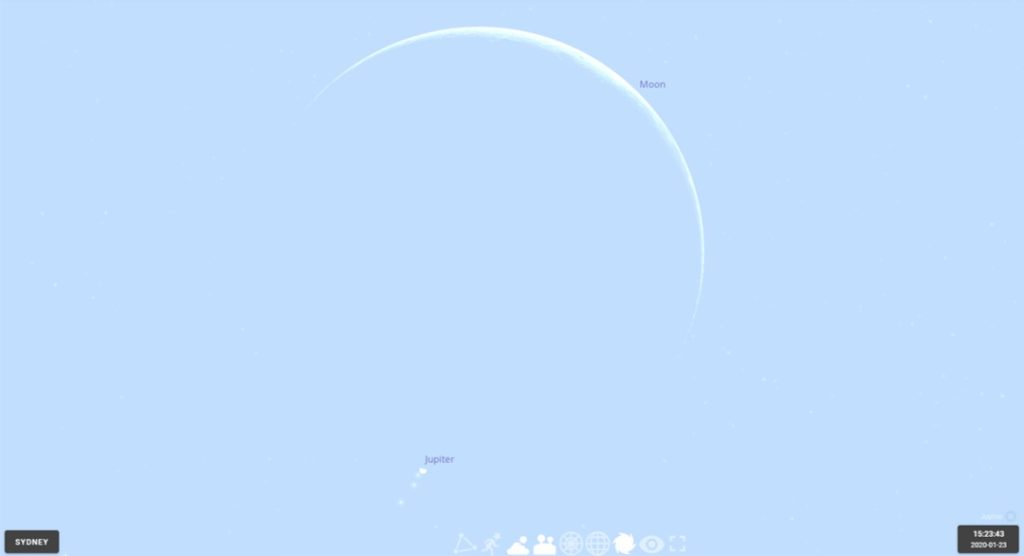 The crescent Moon of 2020 January 23 shortly after occulting Jupiter, as seen from Sydney. Image made using Stellarium online.