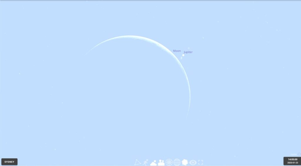 The crescent Moon of 2020 January 23 shortly before occulting Jupiter, as seen from Sydney. Image made using Stellarium online.