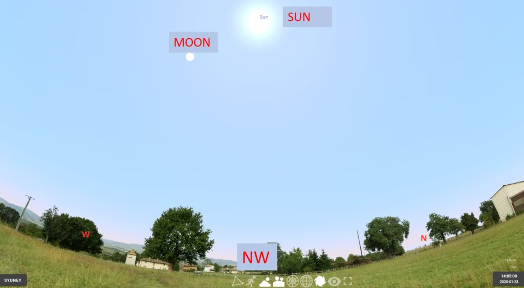 The location of the Sun and Jupiter just after 2pm on 2020 January 23 as seen from Sydney (please ignore the generic Stellarium scenery!).