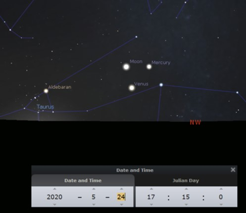 On May 24, 2020, Venus, Mercury and the crescent Moon form a triangle low over the north west horizon.