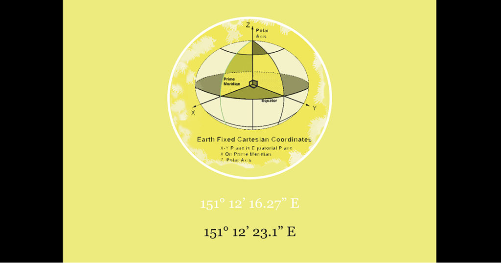 Geometric drawing of a sphere transected by planes against a yellow background.