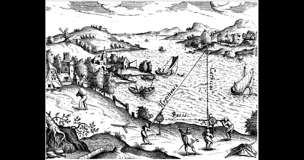 Black and white illustration of a triangular overlayed over a scence of a river and village buildings.