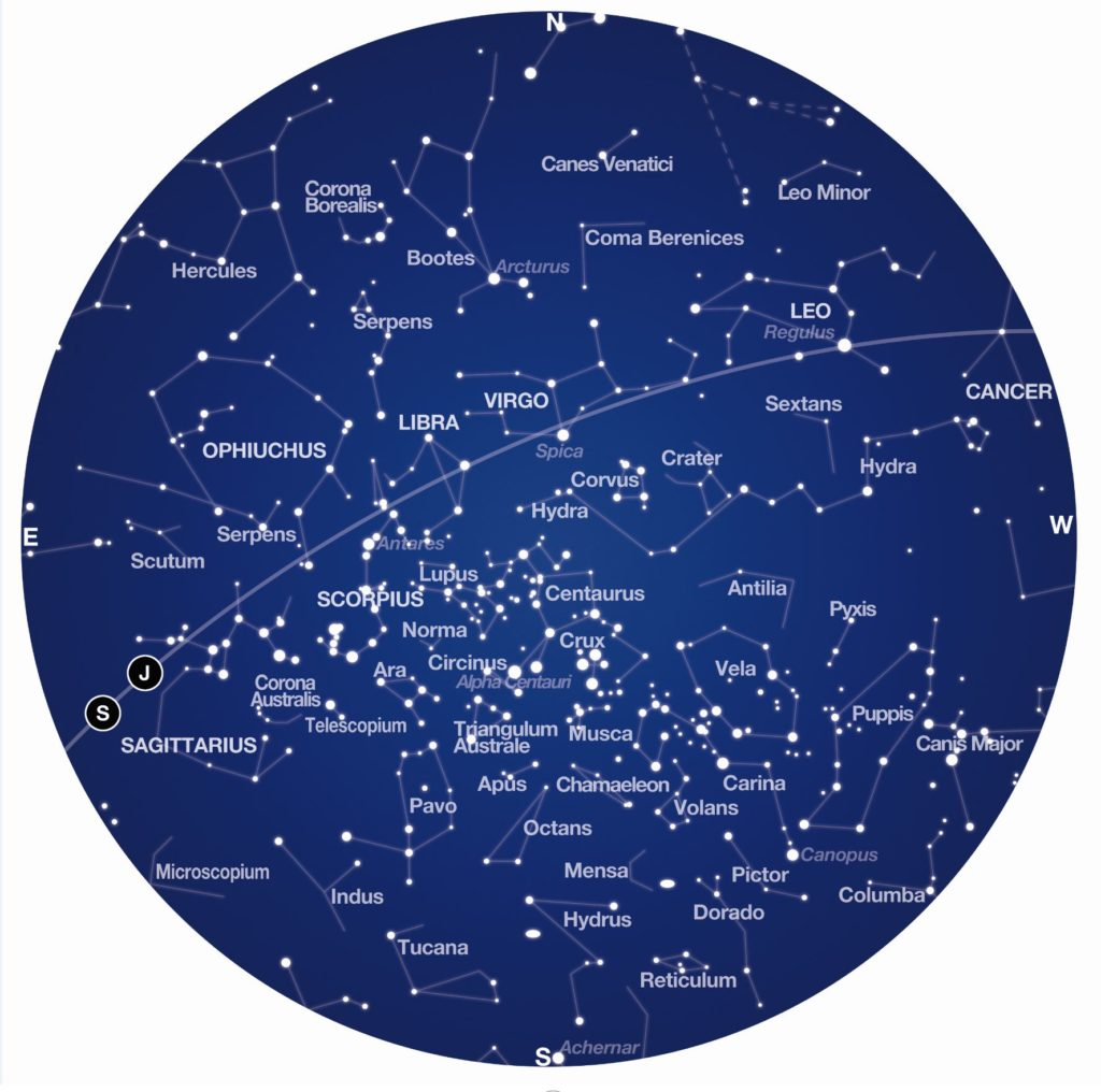 An illustration depicting the constellations in white against a dark blue circle.