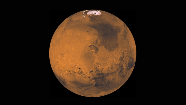 A red planet with a white polar ice cap against a black background.
