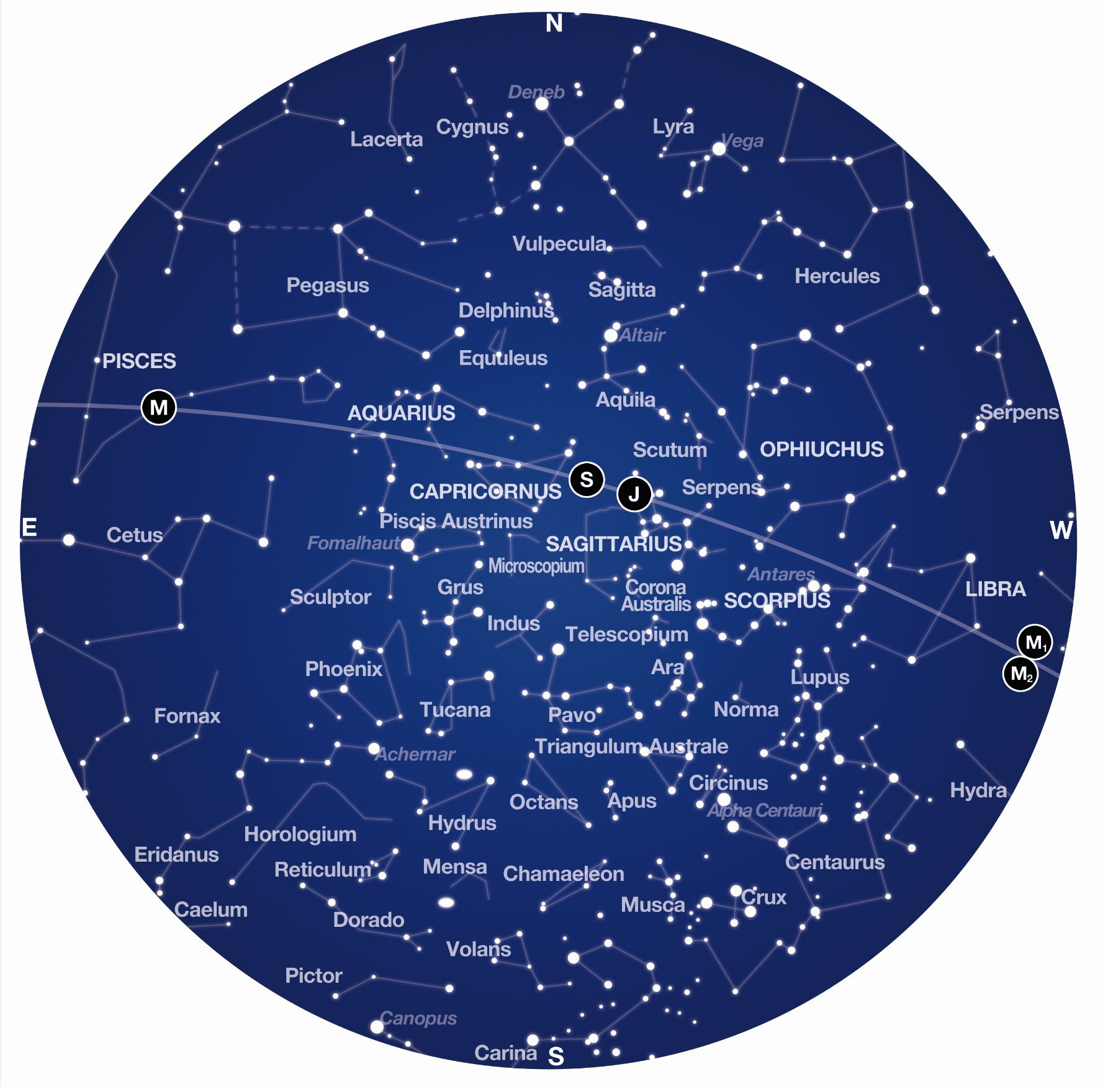 A blue sphere depicting the constellations of the September Night Sky
