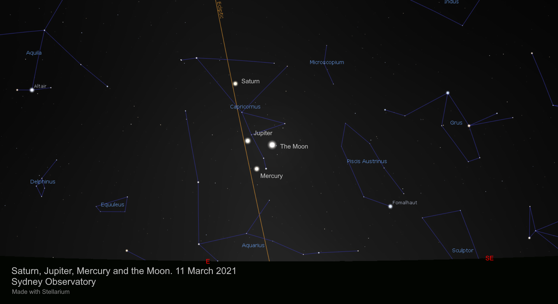 Three planets and the crescent Moon in the pre-dawn eastern sky on 2021 March 11 at 6:00am AEDT.