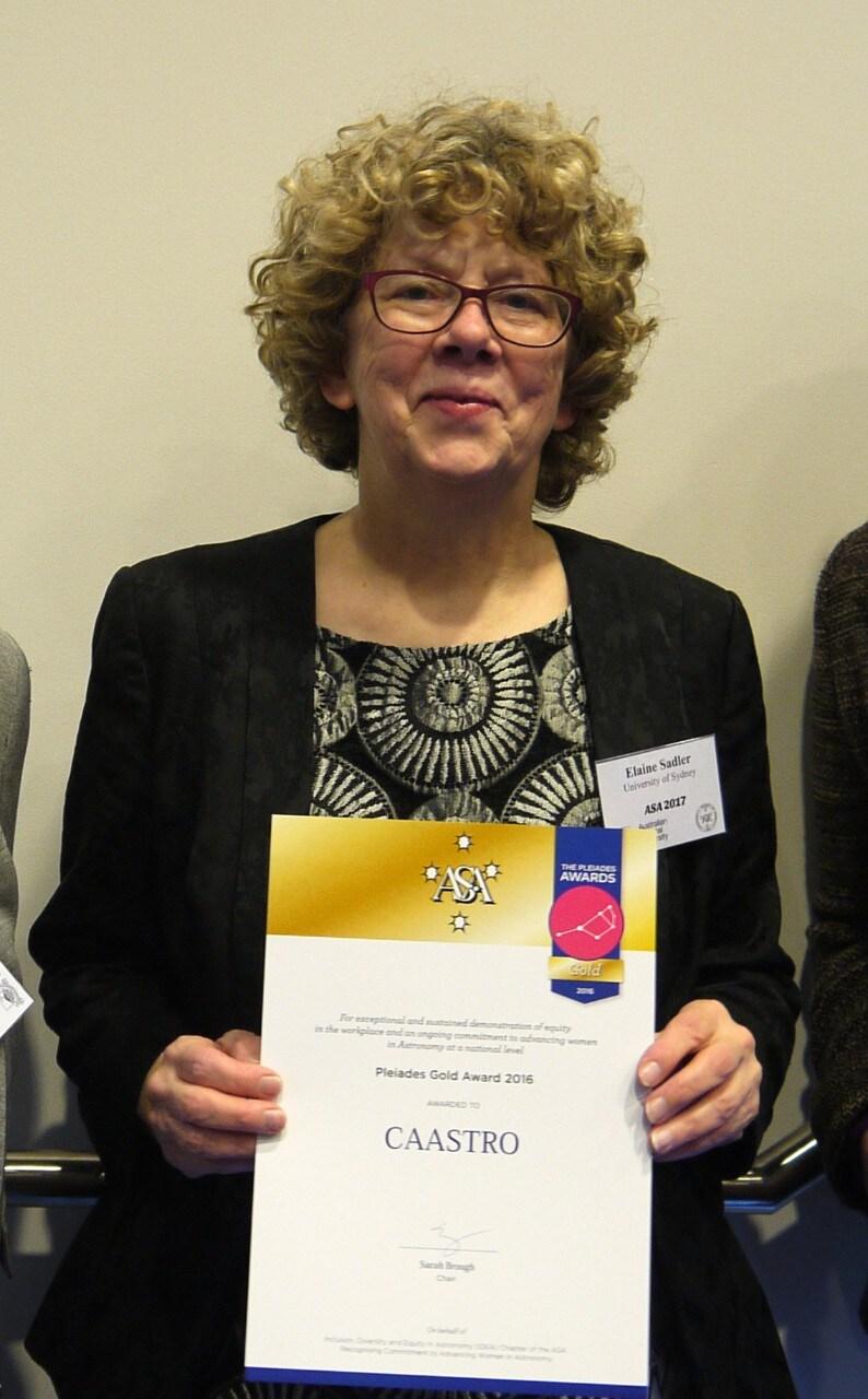 Professor Elaine Sadler AO, receiving a Pleiades Award. Photo Helen Sim.