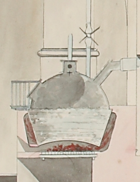 Boiler shown in detail from a drawing of Imperial Bank Mint in St Petersburg