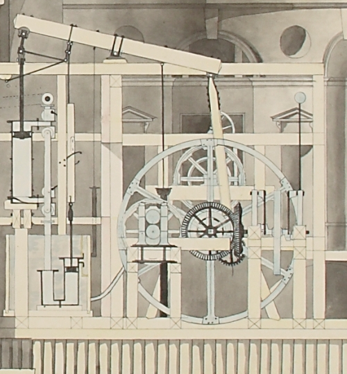 closeup of steam engine from an architectural drawing of the Imperial Bank Mint in St Petersburg