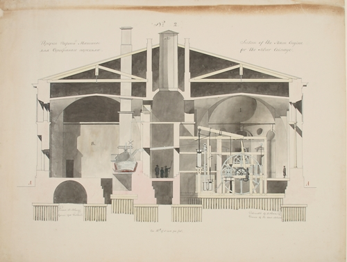 Architectural cross section drawing of Imperial Bank Mint in St Petersburg