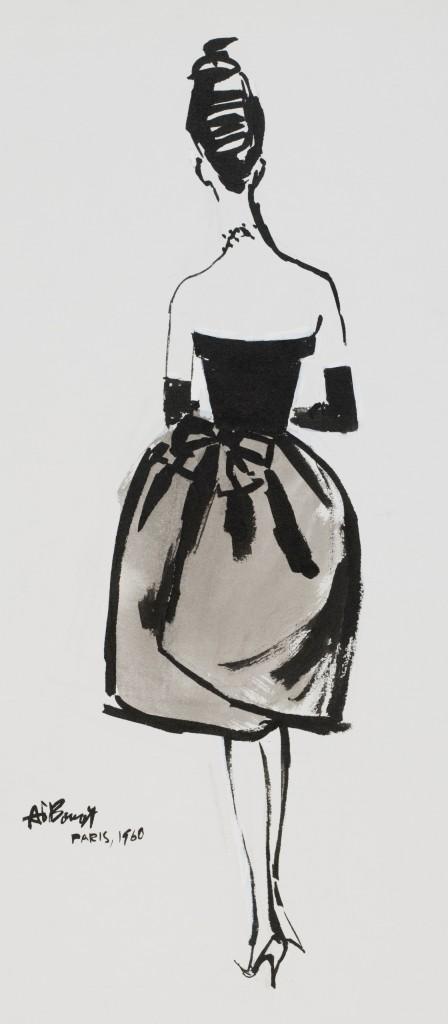 Fashion illustration of Balenciaga dress by Alfredo Bouret