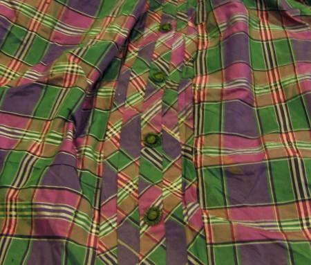 Detail, check silk taffeta skirt (Tongarra Museum collection)