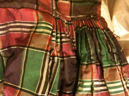 Detail of centre back of Silk taffeta check skirt, 1837 (Tongarra Museum Collection)