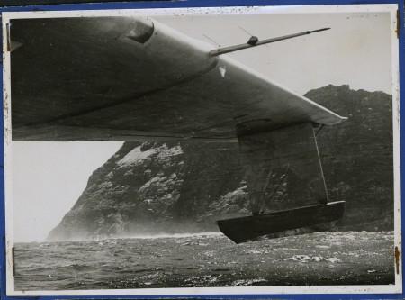 Frigate Bird II sailing around Easter Island from Ovahe Cove to Hanga Piko, view of port wing