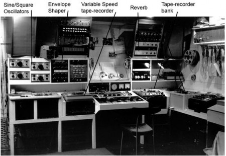 The main oscillators, control panel, and tape-recorders in Cary's Fressingfield studio