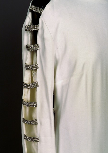 Detail of dress designed by Victoria Cascajo, donated by Lady McMahon