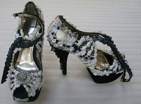 Shoes decorated by Esme Timbery for Romance Was Born