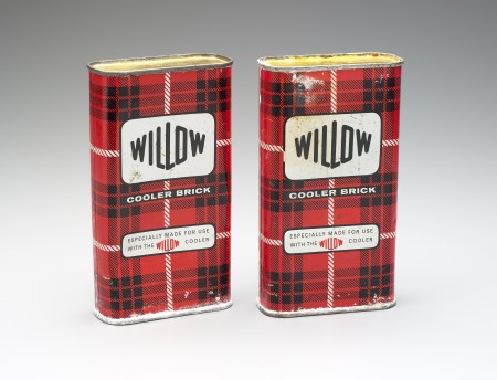 """Two tin cooler bricks with Tartan pattern text reads """" Willow - Cooler Brick - Especially made for use with the Willow cooler"""""""