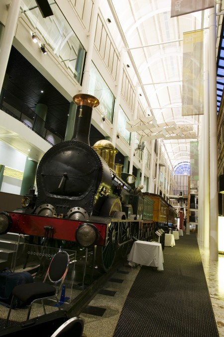 Locomotive 1 in the foyer of the Powerhouse Museum