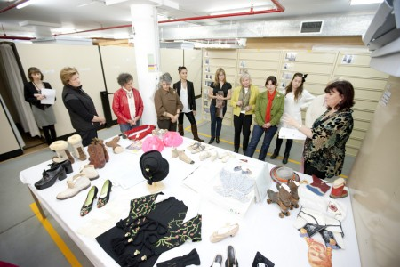 Sydney Design tour participants looking at footwear from the collection
