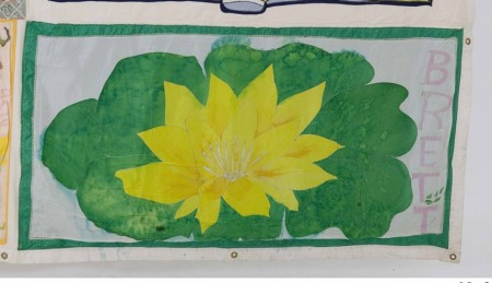 Hand painted flower on fabric