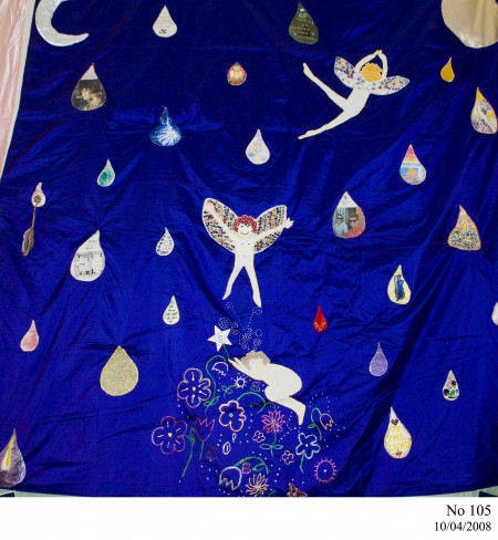 Quilt with fairies and images inside tear droplets