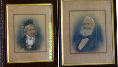 Framed portraits of William and Eliza Bayldon