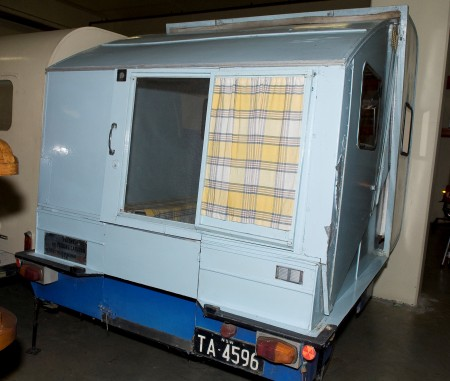 Back view photograph of a Folding Caravan