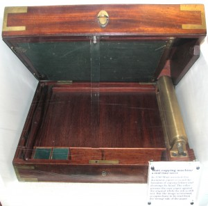 Portable copy press box. Wooden box with brass features