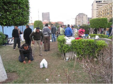 People praying, reflection, in Midan Tahrir