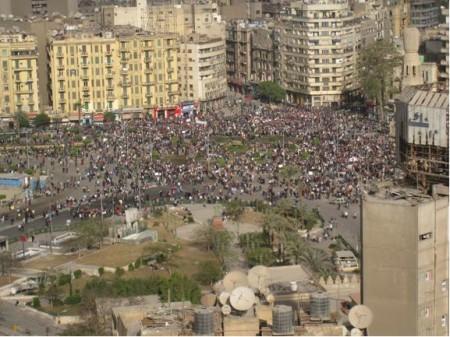 Aerial shot of the crowded Midan Tahrir