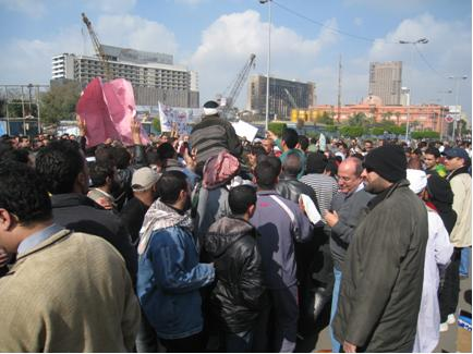 Protests outside the front of the Egyptian Museum positioned in the heart of Midan Tahrir.