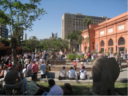 Large crowds of people outside the Egyptian Museum