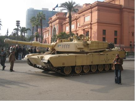 Army tank parked outside the front of the Egyptian Museum