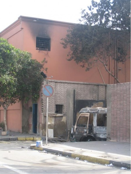Burnt out van next door to the Egyptian Museum, Cairo Egypt.
