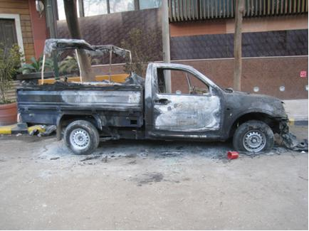 Burnt ute on the side of the road, Cairo Egypt