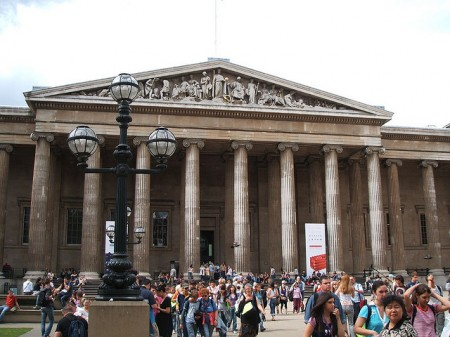 Crowds out the front of the British Museum, a grand classical style building