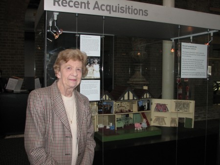 Janet Vanderfield with her doll's house on display in the Museum in 2008