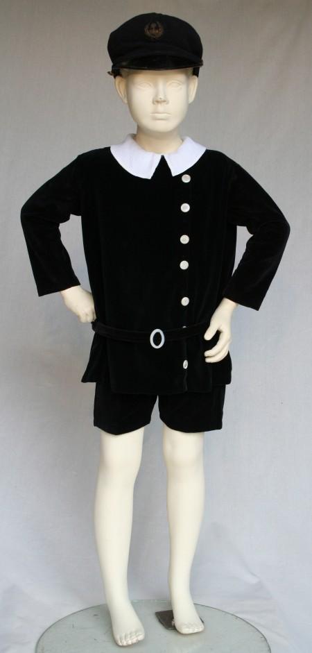 Boys black velveteen suit with cap