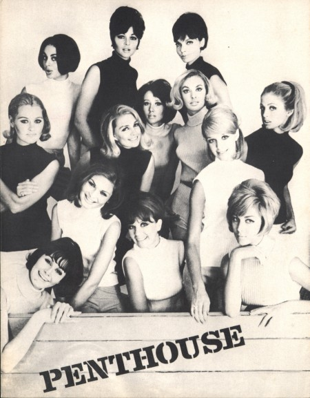 Black and white photograph of Penthouse magazine with a group of female models from 1965