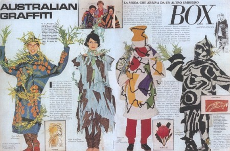 Fashion illustration of a collection of Jenny Kee's designs